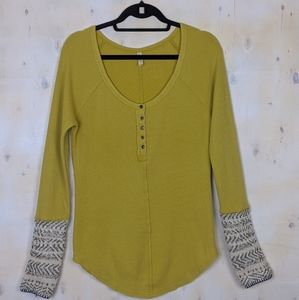 Free People yellow sweater sleeve thermal button L